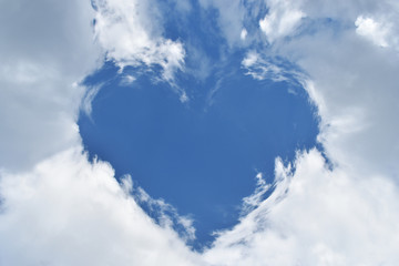 blue sky with hearts shape clouds beauty natural background