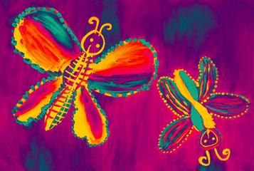 Разноцветные бабочки.