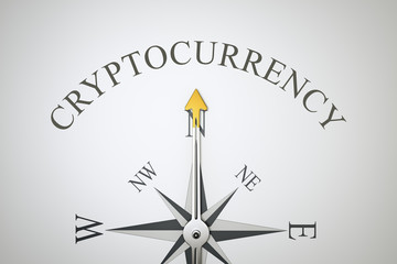 compass with the word cryptocurrency