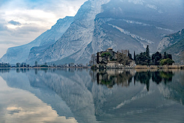 toblino castle view on winter day Wall mural