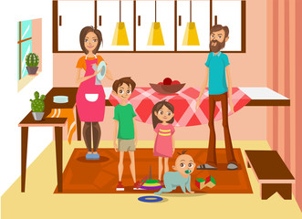 Happy family at home, mother, father and their three kids posing in kitchen interior colorful vector Illustration