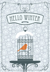 Vector winter banner with lettering Hello Winter with a bird in a cage on the table against the background of seamless pattern of white snowflakes in curly frame.