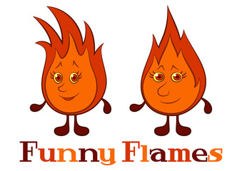 Cartoon Smiling Funny Flames with Red Hair. Vector