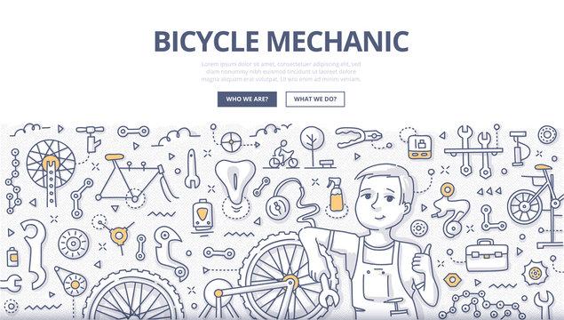 Bicycle Mechanic Doodle Concept