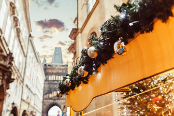 european building decorated for Christmas