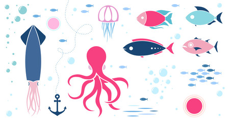 Sea animals isolated collection background
