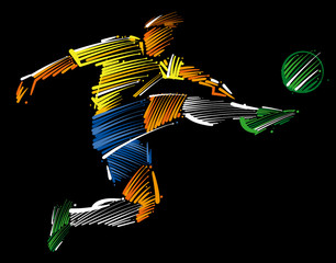 soccer player flying to kick the ball made of colorful brushstrokes on dark background