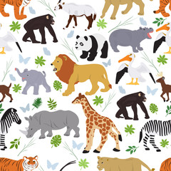 Seamless vector pattern from african on animals on a white background