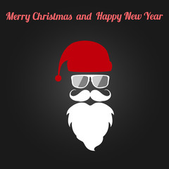 Santa Claus. Flat vector icon with text Merry Christmas and Happy New Year