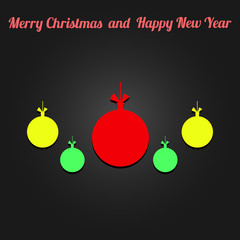 Toy ball for holiday fir-tree Vector. Flat vector icon with text Merry Christmas and Happy New Year
