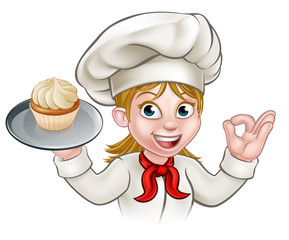 Cartoon Woman Pastry Chef Baker With Cupcake