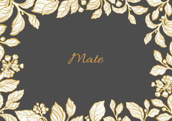 Vector floral template of mate branches.