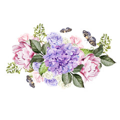 Watercolor wedding bouquet with rose, peony and hydrangea. Ilustration