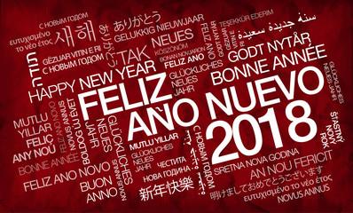 Feliz Año Nuevo 2018 internacional texto traducción nube de etiquetas