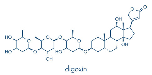 digoxin heart failure drug molecule. Extracted from foxglove plant (digitalis lanata) Skeletal formula.