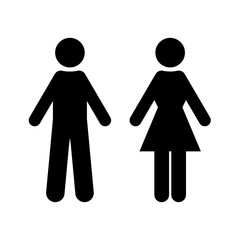 Flat vector: black silhouette of man and woman. Isolated sign, symbol on a white background. Simple symmetrical geometric contour. Suitable for indicating toilet designation, WC and other.
