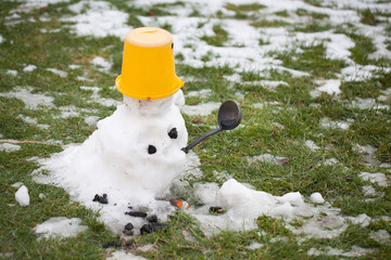 melting snowman - a sign of the coming spring