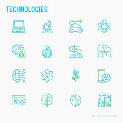 Technologies thin line icons set: electric car, rocket, robotics, solar battery, machine intelligence, web development. Vector illustration.