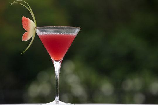 Watermelon cocktail on table. Watermelon martini