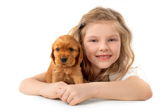 Little girl with red puppy isolated on white background. Kid Pet Friendship