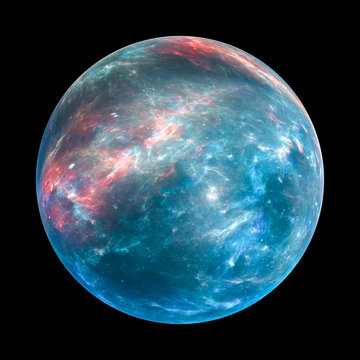 Colorful exoplanet insolated on black