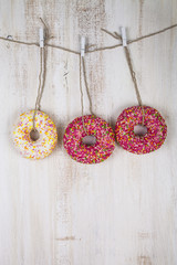 Three donuts on a rope