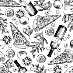 Vector hand drawn seamless pattern of pizza, wine, olives and tomato. Italian food. Hand drawn set of fast food. Vintage engraved illustration. restaurant, menu, street food, bakery, cafe, flyer