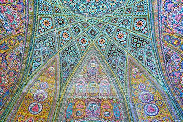 Elements of decor of Nasir Ol-Molk mosque, Shiraz, Iran