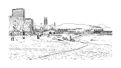 Sketch of beach Barcelona, Spain in vector illustration.