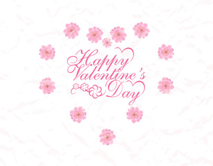Postcard in honor of Valentine s Day. Congratulatory inscription. Heart of flowers Sakura. illustration