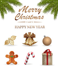 Realistic icons set for Christmas and New Year. Vector illustration isolated on white background