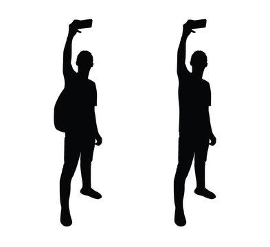 selfie pose man silhouette
