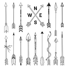Arrows set. Hand drawn arrows illustration. Tribal elements vintage style