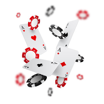 Falling casino chips and aces with blurred elements, vector illustration, isolated on white