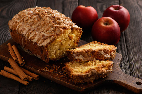 Homemade loaf of apple bread.