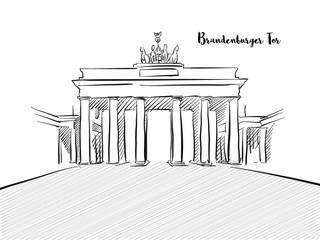 Brandenburg Gate sketch with german typo