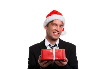 Portrait of happy guy in business suit,Santa cap