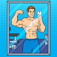 Body builder makes selfie in the mirror pop art