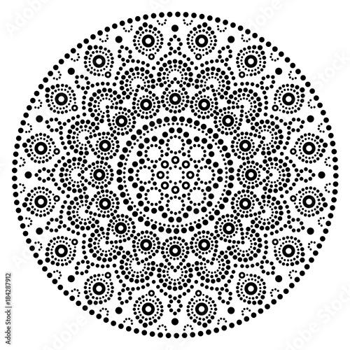 Mandala Vector Art Australian Dot Painting Black And White Design Aboriginal Folk Bohemian