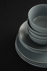 Dining plates set on black theme table