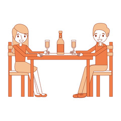 couple parents sitting with wine bottle glass vector illustration