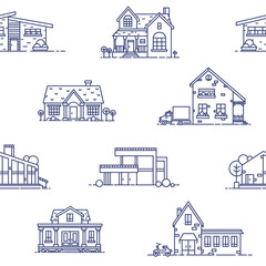 Wall Mural - Seamless pattern with suburban houses drawn with blue contour lines on white background. Monochrome backdrop with various living or residential buildings. Vector illustration in lineart style.