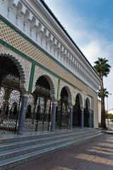 Architectural detail of Altajmootai Mosque surrounded by palm trees, Tajmoti in Fez, Morroco, Africa