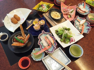 Sumptuous crab cuisine in a japanese restaurant