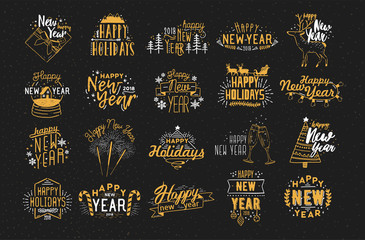 Collection of festive Happy New 2018 Year hand drawn lettering decorated with holiday elements - fireworks, champagne, snow globe, light garland, baubles, snowflakes, spruces. Vector illustration.