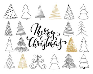 Set of hand drawn Sketch Christmas tree. design for holiday greeting cards and invitations of the Merry Christmas and Happy New Year, banners, posters, logo and seasonal holidays.