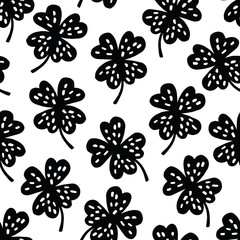 Cute seamless black and white shamrock clover pattern. Good luck concept. Vector illustration background.