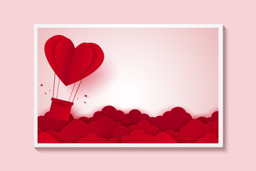Valentines day , Illustration of love , Picture of red heart hot air balloon flying on sky , paper art style