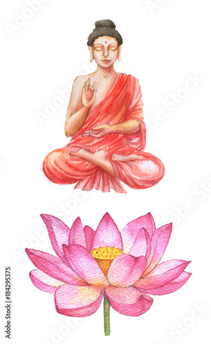 Hand drawn watercolor religion illustration of buddha and lotus hand drawn watercolor religion illustration of buddha and lotus flower pink lotus blossom isolated mightylinksfo