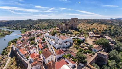 Aerial. The village of Mertola filmed with drone sky. Portugal Alentejo Guadiana